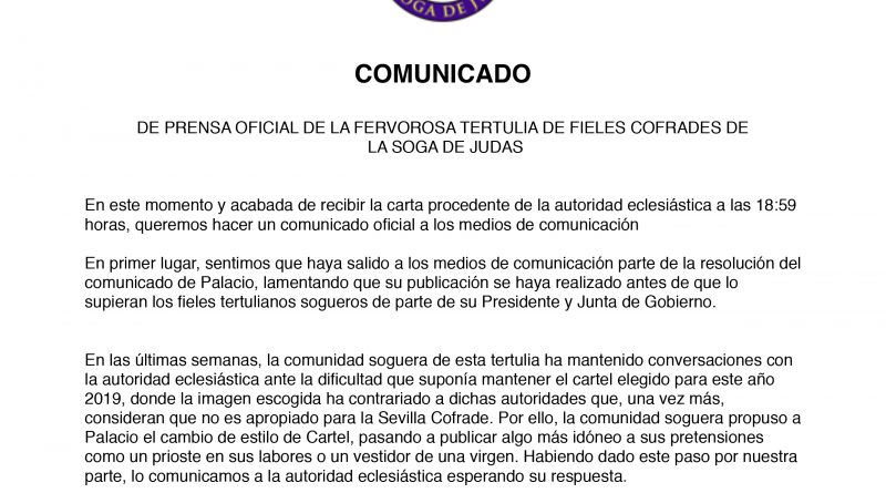 La Soga de Judas no sacará su cartel de Semana Santa 2019 porque no lo autoriza el arzobispado